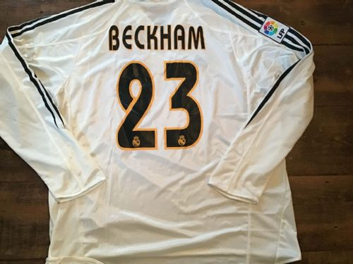 2004 2005 Real Madrid BNWT Beckham L/s Football Shirt XL